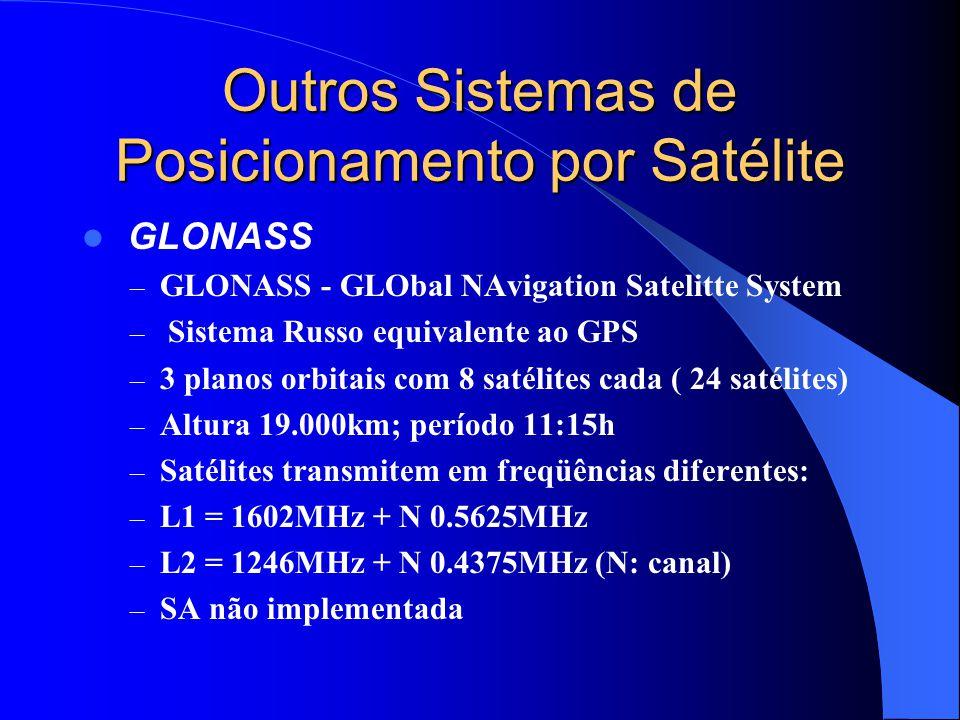 Outros Sistemas de Posicionamento por Satélite GLONASS – GLONASS - GLObal NAvigation Satelitte System – Sistema Russo equivalente ao GPS – 3 planos or