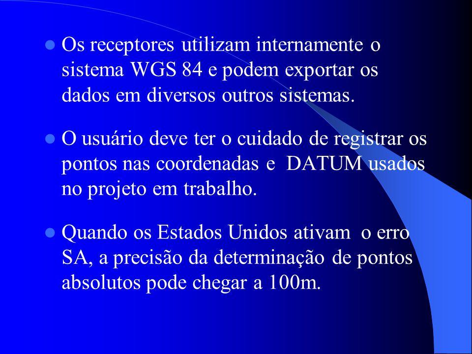 Os receptores utilizam internamente o sistema WGS 84 e podem exportar os dados em diversos outros sistemas. O usuário deve ter o cuidado de registrar