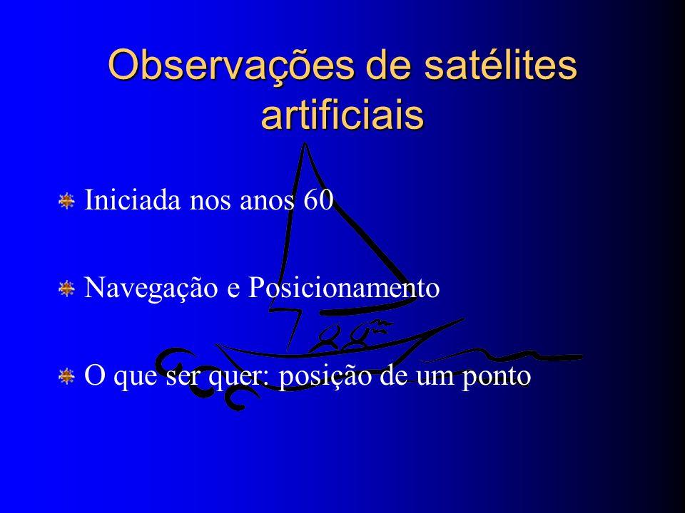 Observações de satélites artificiais Iniciada nos anos 60 Navegação e Posicionamento O que ser quer: posição de um ponto