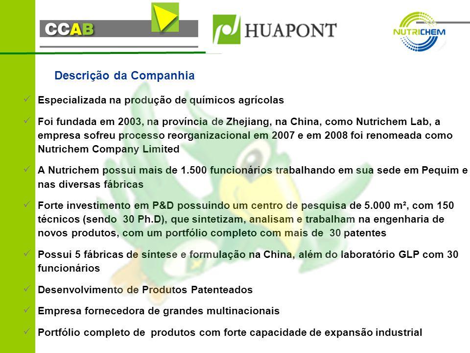 Descrição da Companhia Especializada na produção de químicos agrícolas Foi fundada em 2003, na província de Zhejiang, na China, como Nutrichem Lab, a empresa sofreu processo reorganizacional em 2007 e em 2008 foi renomeada como Nutrichem Company Limited A Nutrichem possui mais de 1.500 funcionários trabalhando em sua sede em Pequim e nas diversas fábricas Forte investimento em P&D possuindo um centro de pesquisa de 5.000 m², com 150 técnicos (sendo 30 Ph.D), que sintetizam, analisam e trabalham na engenharia de novos produtos, com um portfólio completo com mais de 30 patentes Possui 5 fábricas de síntese e formulação na China, além do laboratório GLP com 30 funcionários Desenvolvimento de Produtos Patenteados Empresa fornecedora de grandes multinacionais Portfólio completo de produtos com forte capacidade de expansão industrial