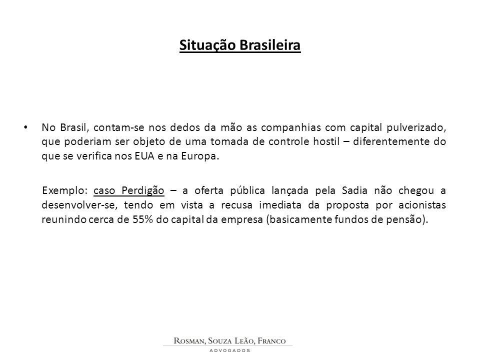 Situação Brasileira No Brasil, contam-se nos dedos da mão as companhias com capital pulverizado, que poderiam ser objeto de uma tomada de controle hos