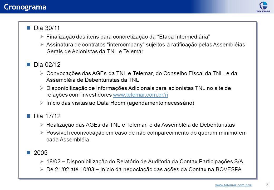 www.telemar.com.br/ri 5 Cronograma Dia 30/11  Finalização dos itens para concretização da Etapa Intermediária  Assinatura de contratos intercompany sujeitos à ratificação pelas Assembléias Gerais de Acionistas da TNL e Telemar Dia 02/12  Convocações das AGEs da TNL e Telemar, do Conselho Fiscal da TNL, e da Assembléia de Debenturistas da TNL  Disponibilização de Informações Adicionais para acionistas TNL no site de relações com investidores www.telemar.com.br/riwww.telemar.com.br/ri  Início das visitas ao Data Room (agendamento necessário) Dia 17/12  Realização das AGEs da TNL e Telemar, e da Assembléia de Debenturistas  Possível reconvocação em caso de não comparecimento do quórum mínimo em cada Assembléia 2005  18/02 – Disponibilização do Relatório de Auditoria da Contax Participações S/A  De 21/02 até 10/03 – Início da negociação das ações da Contax na BOVESPA Dia 30/11  Finalização dos itens para concretização da Etapa Intermediária  Assinatura de contratos intercompany sujeitos à ratificação pelas Assembléias Gerais de Acionistas da TNL e Telemar Dia 02/12  Convocações das AGEs da TNL e Telemar, do Conselho Fiscal da TNL, e da Assembléia de Debenturistas da TNL  Disponibilização de Informações Adicionais para acionistas TNL no site de relações com investidores www.telemar.com.br/riwww.telemar.com.br/ri  Início das visitas ao Data Room (agendamento necessário) Dia 17/12  Realização das AGEs da TNL e Telemar, e da Assembléia de Debenturistas  Possível reconvocação em caso de não comparecimento do quórum mínimo em cada Assembléia 2005  18/02 – Disponibilização do Relatório de Auditoria da Contax Participações S/A  De 21/02 até 10/03 – Início da negociação das ações da Contax na BOVESPA