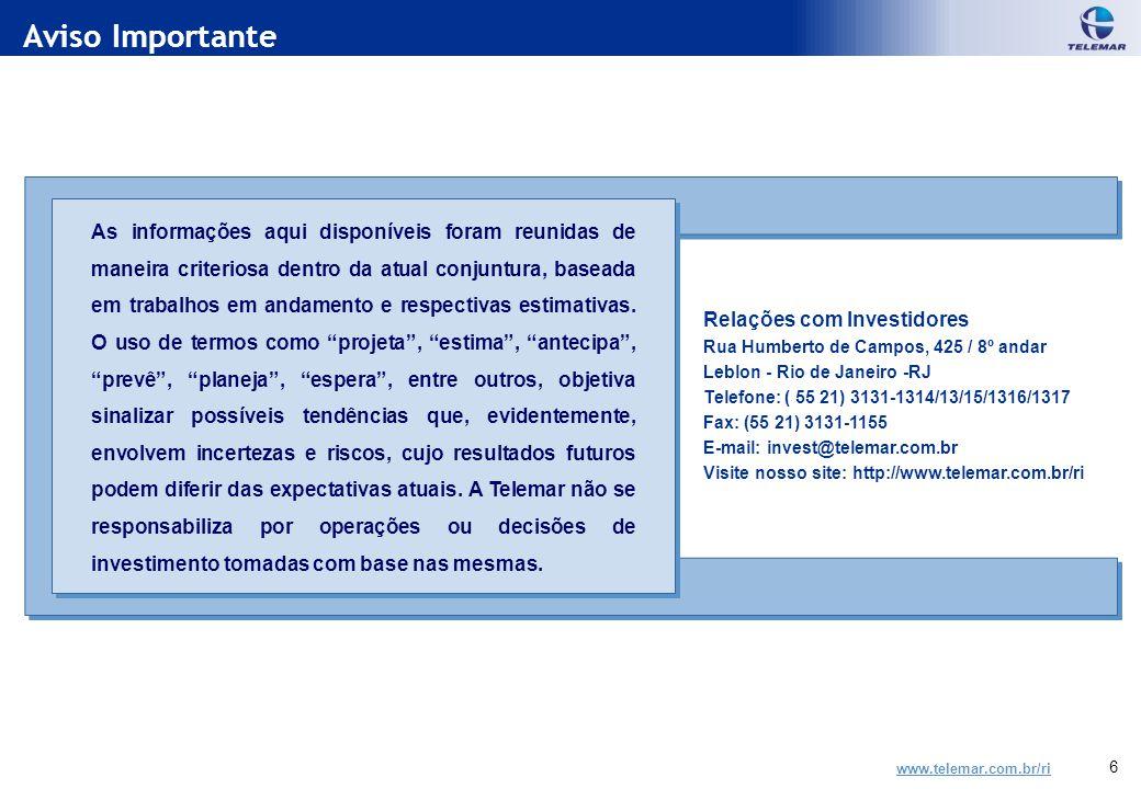 www.telemar.com.br/ri 6 Aviso Importante Relações com Investidores Rua Humberto de Campos, 425 / 8º andar Leblon - Rio de Janeiro -RJ Telefone: ( 55 21) 3131-1314/13/15/1316/1317 Fax: (55 21) 3131-1155 E-mail: invest@telemar.com.br Visite nosso site: http://www.telemar.com.br/ri As informações aqui disponíveis foram reunidas de maneira criteriosa dentro da atual conjuntura, baseada em trabalhos em andamento e respectivas estimativas.