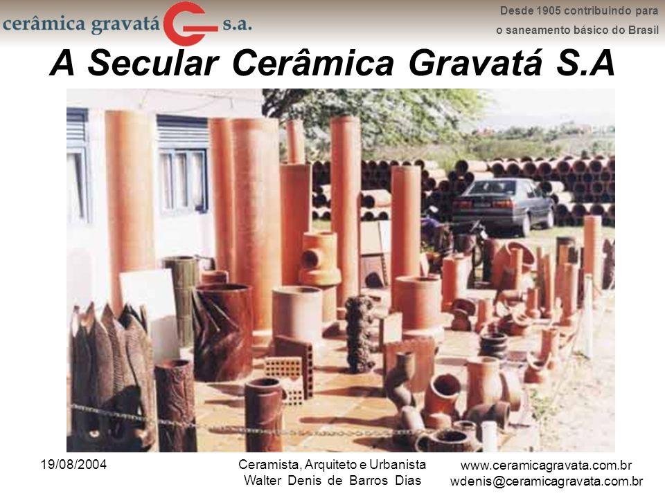 www.ceramicagravata.com.br wdenis@ceramicagravata.com.br Desde 1905 contribuindo para o saneamento básico do Brasil 19/08/2004Ceramista, Arquiteto e Urbanista Walter Denis de Barros Dias Agradecimento pela Atenção
