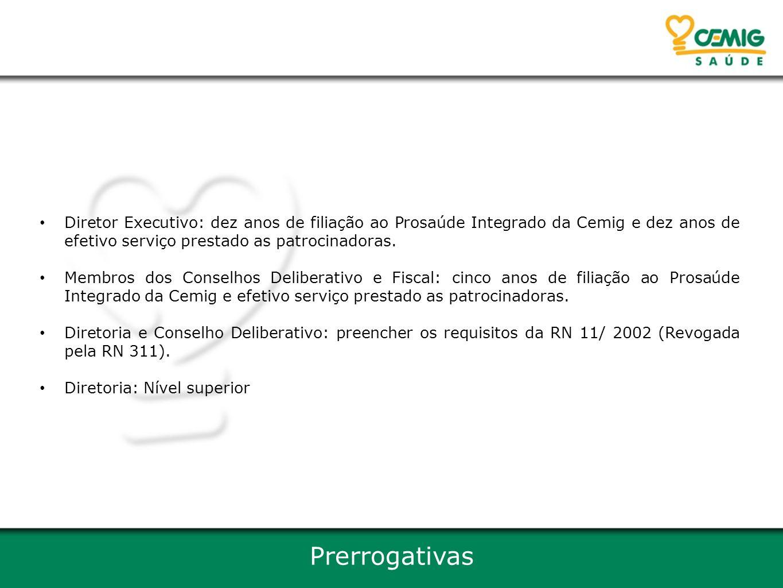 Diretor Executivo: dez anos de filiação ao Prosaúde Integrado da Cemig e dez anos de efetivo serviço prestado as patrocinadoras.