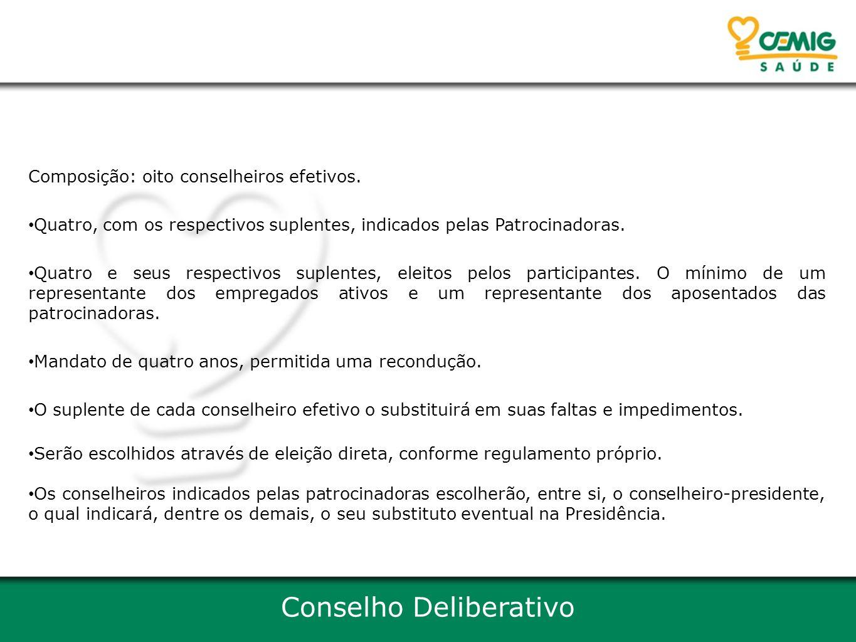 Conselho Deliberativo Composição: oito conselheiros efetivos.