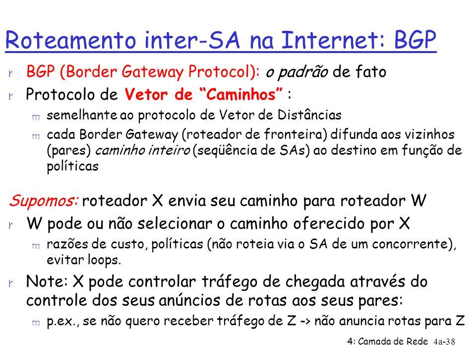"""4: Camada de Rede4a-38 Roteamento inter-SA na Internet: BGP r BGP (Border Gateway Protocol): o padrão de fato r Protocolo de Vetor de """"Caminhos"""" : m s"""