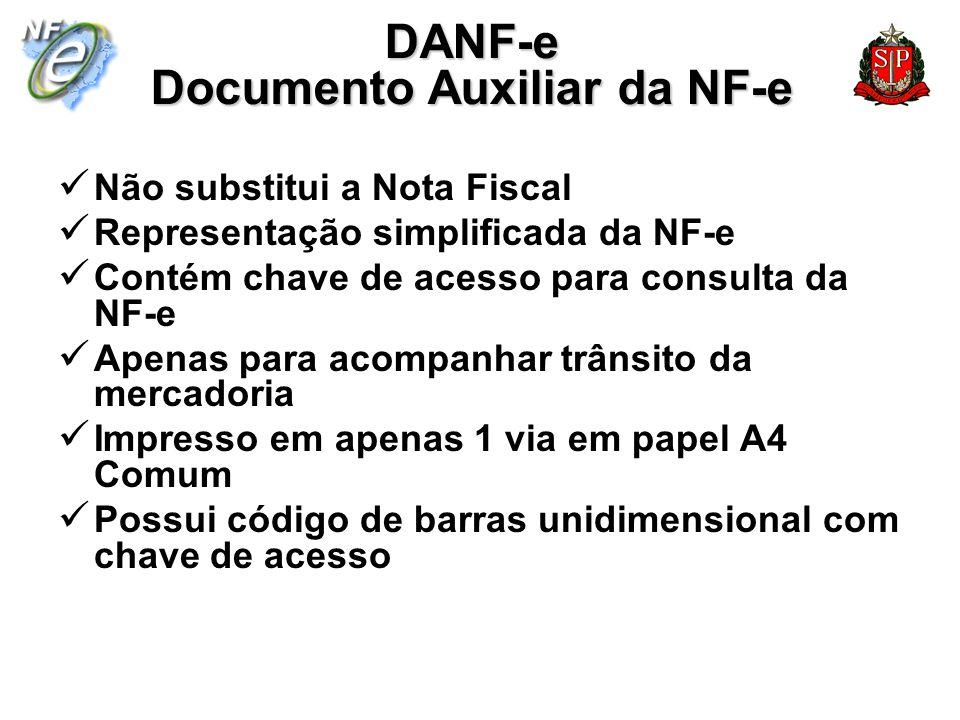 DANF-e Documento Auxiliar da NF-e Não substitui a Nota Fiscal Representação simplificada da NF-e Contém chave de acesso para consulta da NF-e Apenas p