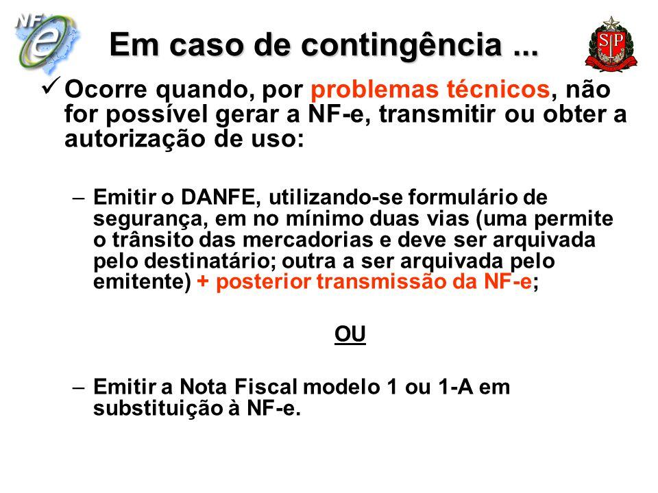 Em caso de contingência... Ocorre quando, por problemas técnicos, não for possível gerar a NF-e, transmitir ou obter a autorização de uso: –Emitir o D