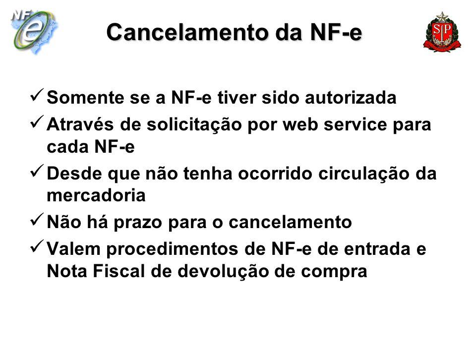 Cancelamento da NF-e Somente se a NF-e tiver sido autorizada Através de solicitação por web service para cada NF-e Desde que não tenha ocorrido circul