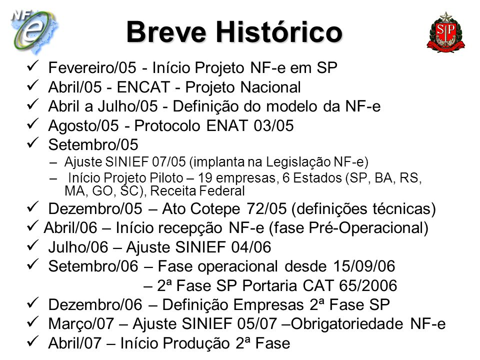 Breve Histórico Fevereiro/05 - Início Projeto NF-e em SP Abril/05 - ENCAT - Projeto Nacional Abril a Julho/05 - Definição do modelo da NF-e Agosto/05