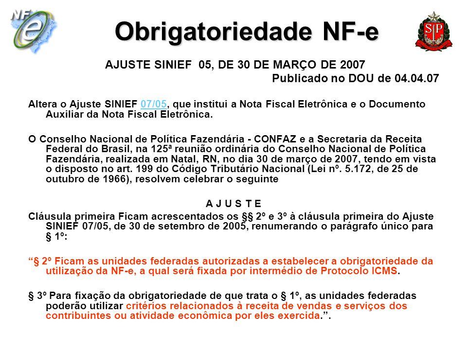 Obrigatoriedade NF-e AJUSTE SINIEF 05, DE 30 DE MARÇO DE 2007 Publicado no DOU de 04.04.07 Altera o Ajuste SINIEF 07/05, que institui a Nota Fiscal El