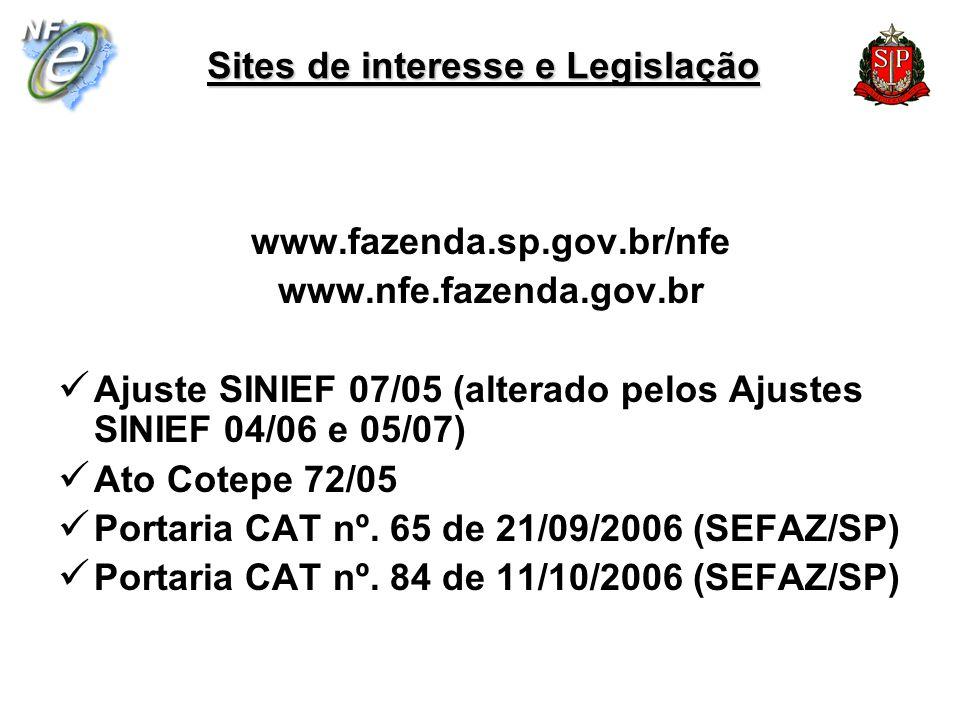 Sites de interesse e Legislação www.fazenda.sp.gov.br/nfe www.nfe.fazenda.gov.br Ajuste SINIEF 07/05 (alterado pelos Ajustes SINIEF 04/06 e 05/07) Ato