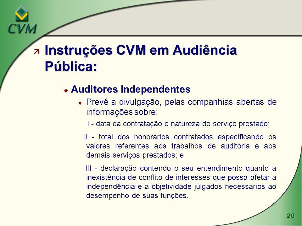 20 ä Instruções CVM em Audiência Pública: u Auditores Independentes l Prevê a divulgação, pelas companhias abertas de informações sobre: I - data da c