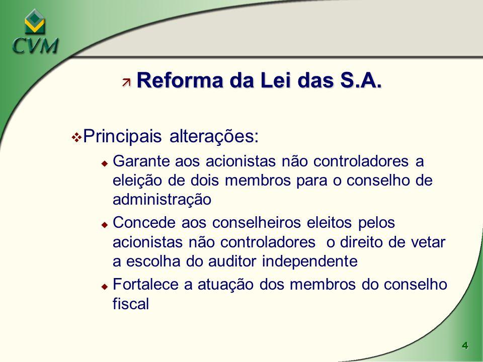 4 ä Reforma da Lei das S.A. v Principais alterações: u Garante aos acionistas não controladores a eleição de dois membros para o conselho de administr