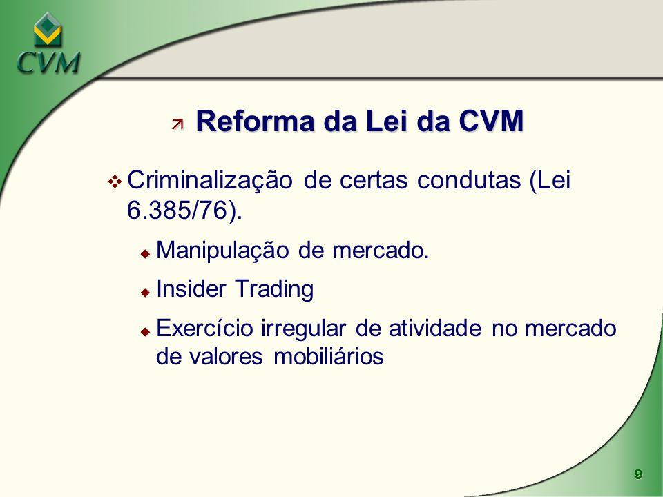 10 ä Novas Instruções CVM: v Instrução 358: regula a divulgação de informação relevante.