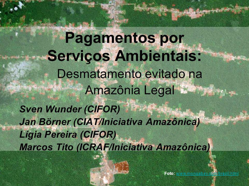 3.03.2009, MMA, Brasília Pagamentos por Serviços Ambientais: Desmatamento evitado na Amazônia Legal Sven Wunder (CIFOR) Jan Börner (CIAT/Iniciativa Amazônica) Lígia Pereira (CIFOR) Marcos Tito (ICRAF/Iniciativa Amazônica) Foto: www.mongabay.com/brazil.htmlwww.mongabay.com/brazil.html