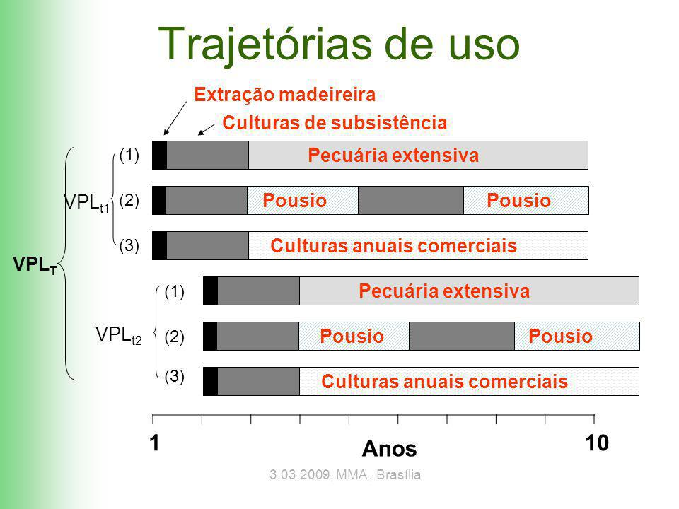 3.03.2009, MMA, Brasília Trajetórias de uso Pecuária extensiva Pousio Culturas anuais comerciais VPL T Anos (1) (2) (3) Culturas de subsistência Extração madeireira Pecuária extensiva Pousio Culturas anuais comerciais (1) (2) (3) VPL t1 VPL t2 1 10