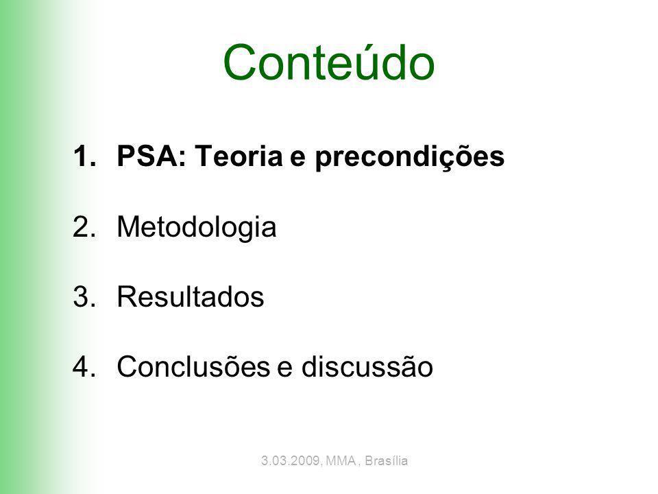 3.03.2009, MMA, Brasília Custo total e excedente do provedor Área conservada Custo total de oportunidade Excedente econômico (médio) Milhões haMilhões R$R$/ha Pagam.