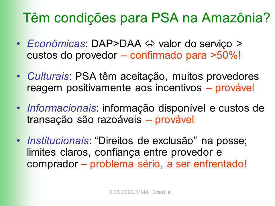 3.03.2009, MMA, Brasília Têm condições para PSA na Amazônia.