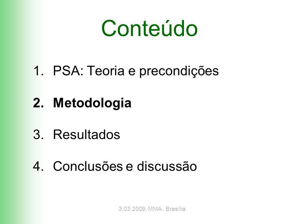 3.03.2009, MMA, Brasília Passos para avaliar potencial de REDD/PSA 1.Adicionalidade Floresta ameaçada + serviço (e.g.