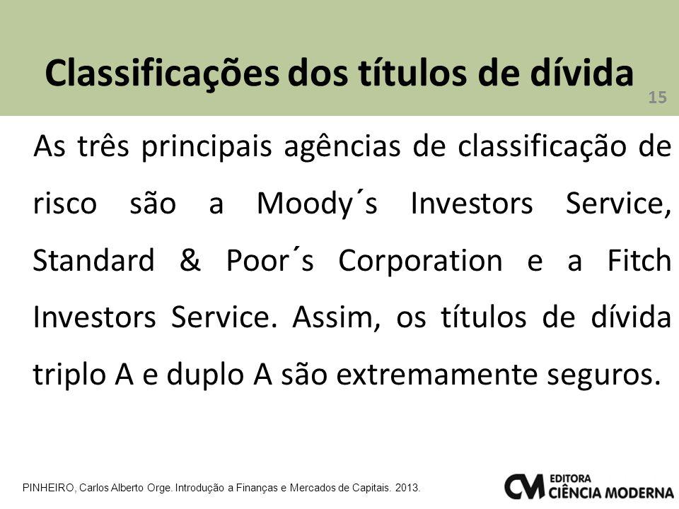 Classificações dos títulos de dívida As três principais agências de classificação de risco são a Moody´s Investors Service, Standard & Poor´s Corporation e a Fitch Investors Service.