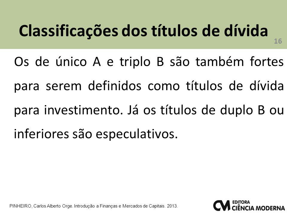Classificações dos títulos de dívida Os de único A e triplo B são também fortes para serem definidos como títulos de dívida para investimento.