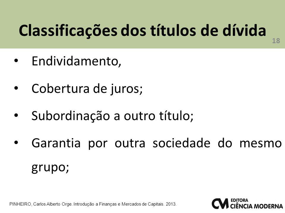 Classificações dos títulos de dívida Endividamento, Cobertura de juros; Subordinação a outro título; Garantia por outra sociedade do mesmo grupo; 18 PINHEIRO, Carlos Alberto Orge.
