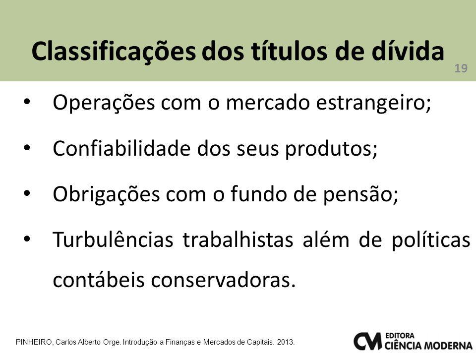 Classificações dos títulos de dívida Operações com o mercado estrangeiro; Confiabilidade dos seus produtos; Obrigações com o fundo de pensão; Turbulências trabalhistas além de políticas contábeis conservadoras.
