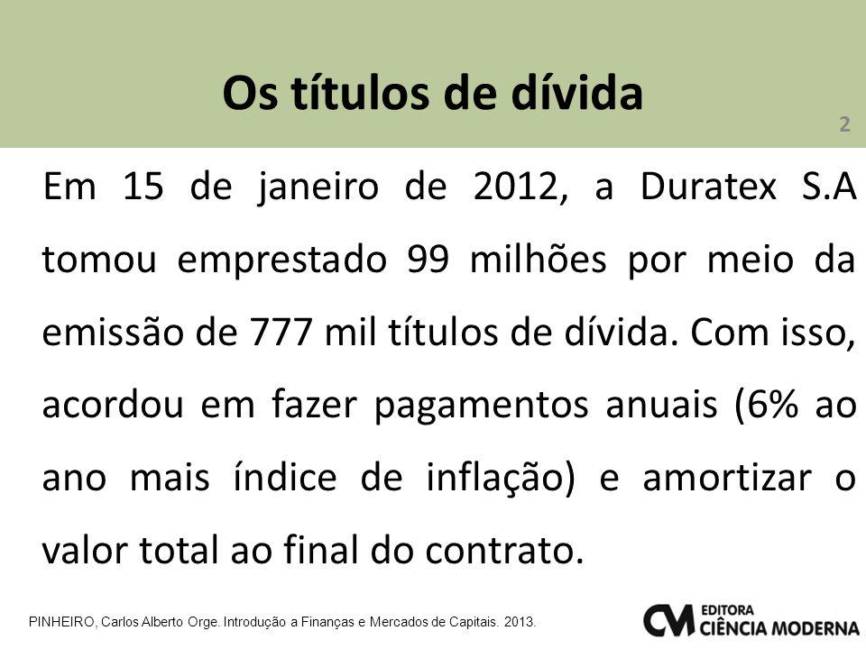 Os títulos de dívida Em 15 de janeiro de 2012, a Duratex S.A tomou emprestado 99 milhões por meio da emissão de 777 mil títulos de dívida.