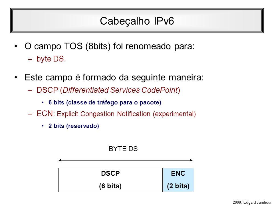 2008, Edgard Jamhour Cabeçalho IPv6 Version (4 bits) –Contém o número fixo 6. –Será utilizado pelos roteadores e demais hosts para determinar se eles