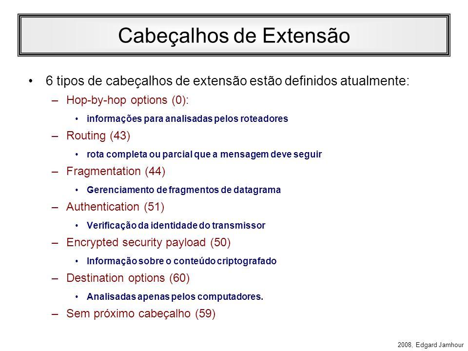 2008, Edgard Jamhour Cabeçalho IPv6 Payload Lenght (16 bits) –Indica quantos bytes seguem o cabeçalho fixo de 40 bytes. –O valor é zero no caso do jum
