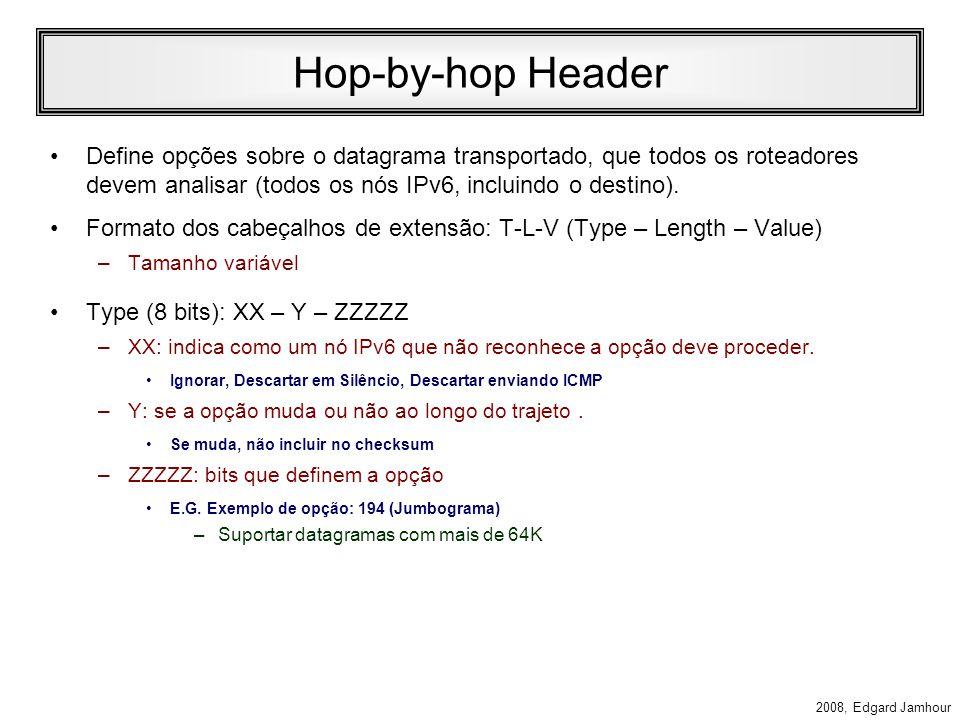 2008, Edgard Jamhour Cabeçalhos de Extensão Os datagramas IPv6 podem ter 0 ou vários cabeçalhos de extensão, conforme mostra o exemplo abaixo: cabeçalho base NEXT = TCP segmento TCP cabeçalho base NEXT = ROUTE cabeçalho ROUTE NEXT=TCP segmento TCP cabeçalho base NEXT = ROUTE cabeçalho AUTH NEXT=TCP segmento TCP cabeçalho ROUTE NEXT=AUTH cabeçalho base NEXT = IPv6 (41) Cabeçalho IPv6
