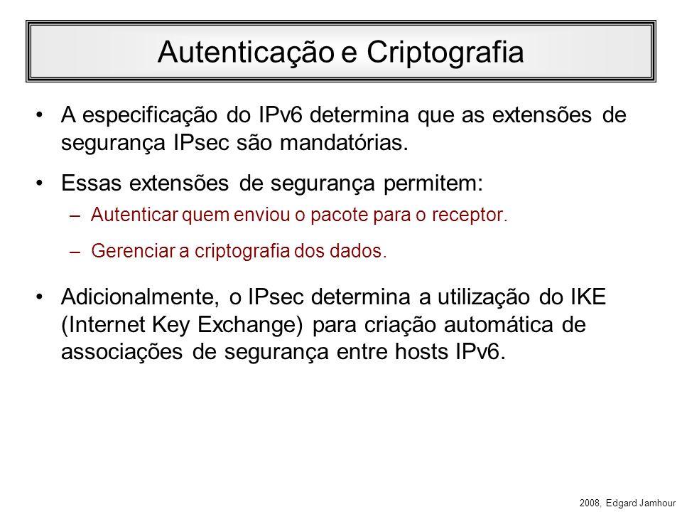 2008, Edgard Jamhour Fragmentation Header A fragmentação no IPv6 funciona de maneira similar ao IPv4. –Ao contrário do IPv4, o IPv6 só permite efetuar