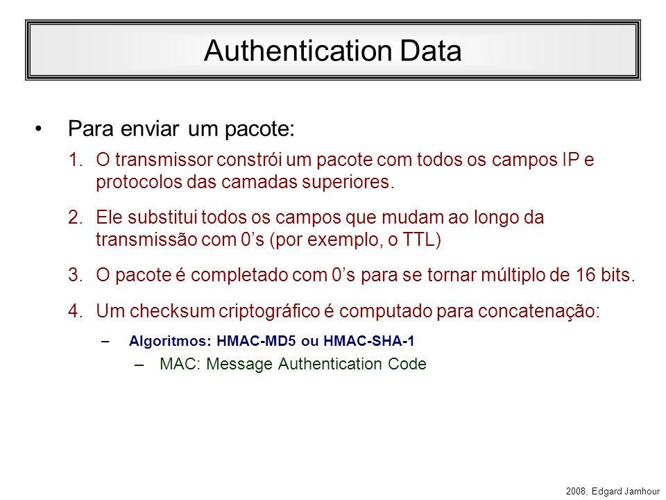 2008, Edgard Jamhour Campos do IPsec AH Next Header: –Código do protocolo encapsulado pelo IPsec, de acordo com os códigos definidos pela IANA (UDP, TCP, etc...) Length: –comprimento do cabeçalho em múltiplos de 32.