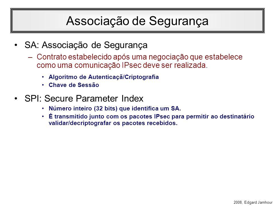 2008, Edgard Jamhour Security Association Uma vez definida uma política comum a ambos os computadores, uma associação de segurança (SA) é criada para lembrar as condições de comunicação entre os hosts.