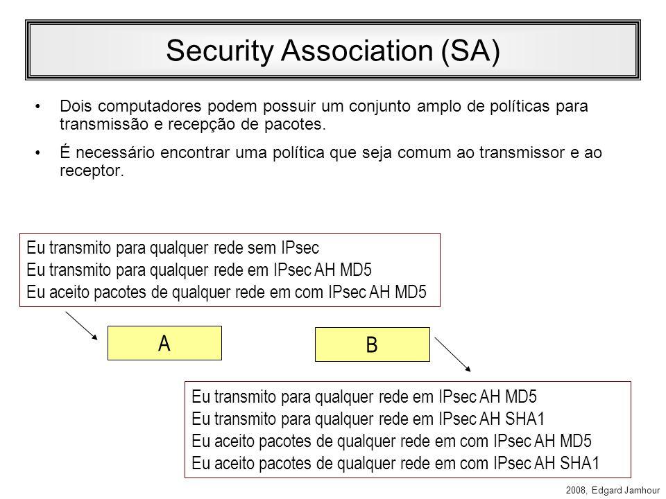 2008, Edgard Jamhour Associação de Segurança SA: Associação de Segurança –Contrato estabelecido após uma negociação que estabelece como uma comunicação IPsec deve ser realizada.