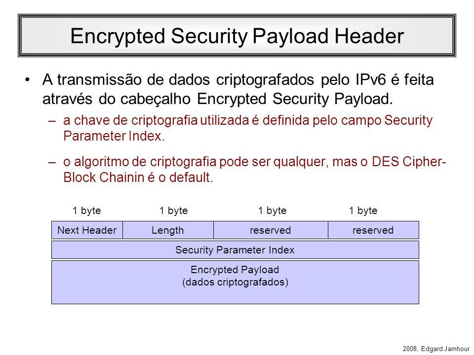 2008, Edgard Jamhour Encrypted Security Payload Header ESP provê recursos de autenticação, integridade e criptografia de pacotes. Next HeaderPad (0 –