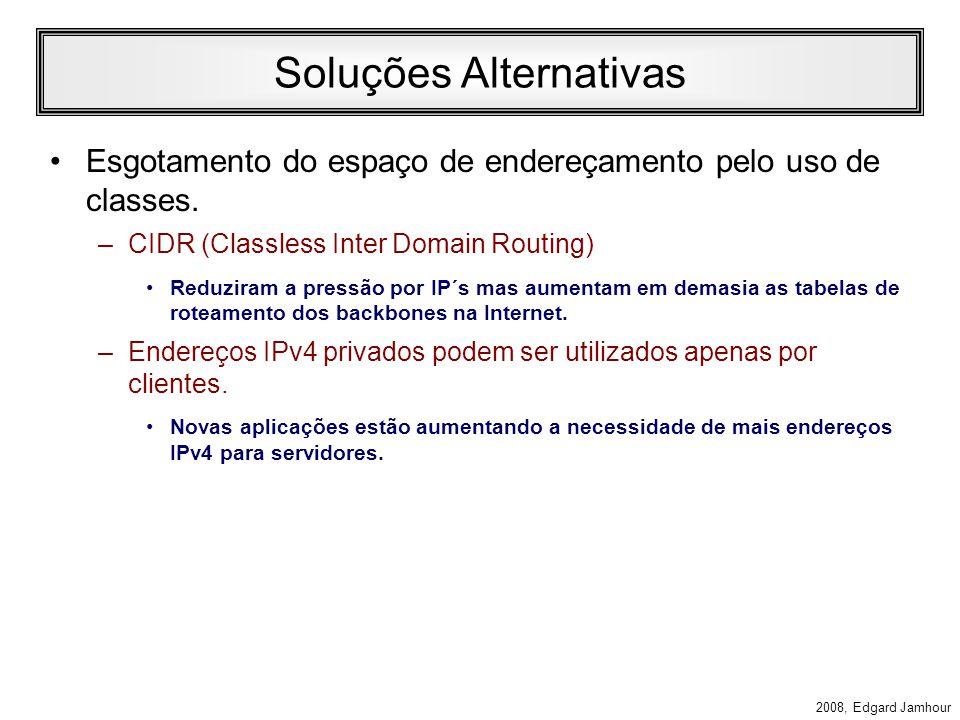 2008, Edgard Jamhour Neighbor Adverstisement –B envia para A um Neigbor Adverstisement Campos do IP –Próximo 58 (ICMP) –Saltos (255) –IP Destino (endereço de nó A) ICMP –Tipo 136 (Neighbor Adverstisement) –Endereço Alvo: IP de B –MAC de origem (o MAC de B) –Flags RSO (3 bits) »R Flag Roteador: A resposta foi de um roteador »S Flag Solicitado: O anúncio é resposta a uma solicitação.