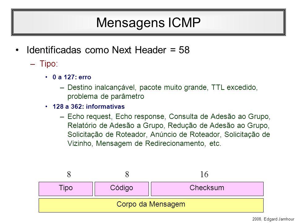 2008, Edgard Jamhour ICMPv6 As funções do protocolo ICMP foram estendidas no IPv6. O ICMPv6 (RFC 1885: Internet Control Message Protocol for IPv6) rec