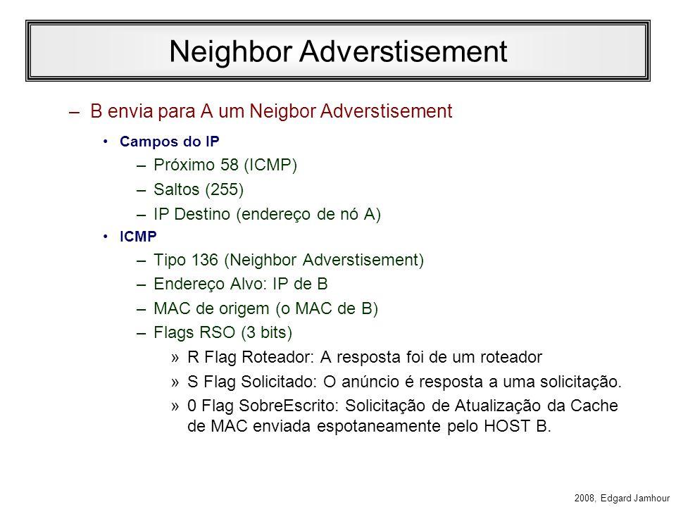 2008, Edgard Jamhour Neighbor Solicitation Comunicação de A para B –A envia uma mensagem de neighbor solicitation Campos do IP –Próximo 58 (ICMP) –Saltos (255) –IP Destino (endereço de nó solicitado: multicast) ICMP –Tipo 135 (Neighbor Solicitation) –Endereço Alvo: IP do destinatário –MAC de origem