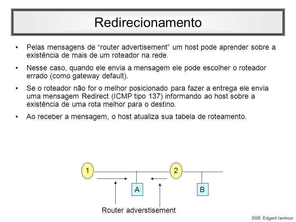2008, Edgard Jamhour Router Solicitation Um host que queira descobrir um roteador acessível no enlace sem aguardar a próxima mensagem de router advertisement pode enviar uma mensagem de router solicitation.