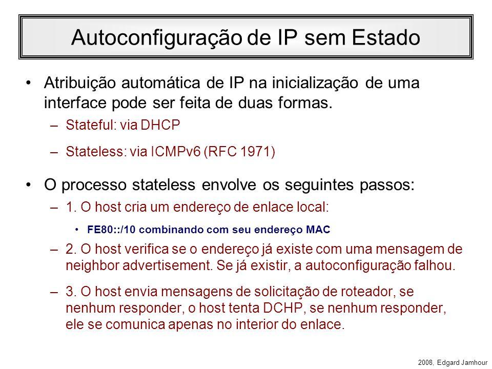 2008, Edgard Jamhour Redirecionamento Pelas mensagens de router advertisement um host pode aprender sobre a existência de mais de um roteador na rede.