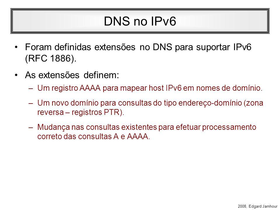 2008, Edgard Jamhour Autoconfiguração de IP sem Estado (continuação) –4. Se o host receber uma mensagem de router advertisement: Se o flag M estiver s