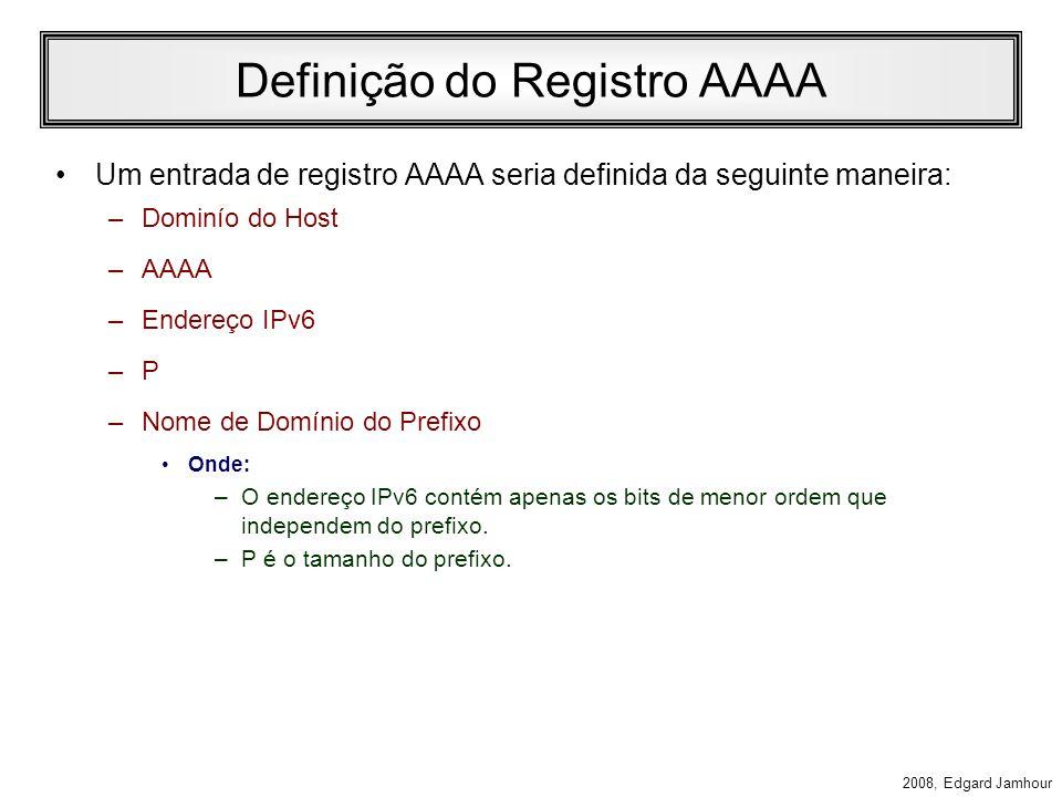 2008, Edgard Jamhour Mudança no Formato dos Registros O formato hierárquico de endereços IPv6 permite que uma organização troque de prefixo de público (TLA ou NLA) sem grandes alterações na rede.