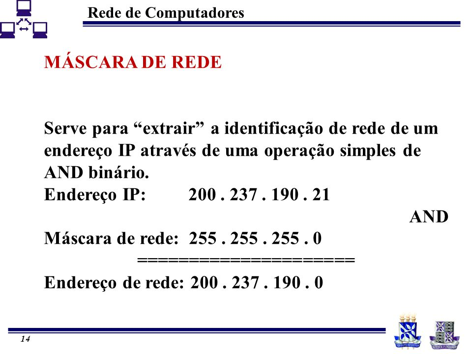 """Rede de Computadores 14 MÁSCARA DE REDE Serve para """"extrair"""" a identificação de rede de um endereço IP através de uma operação simples de AND binário."""