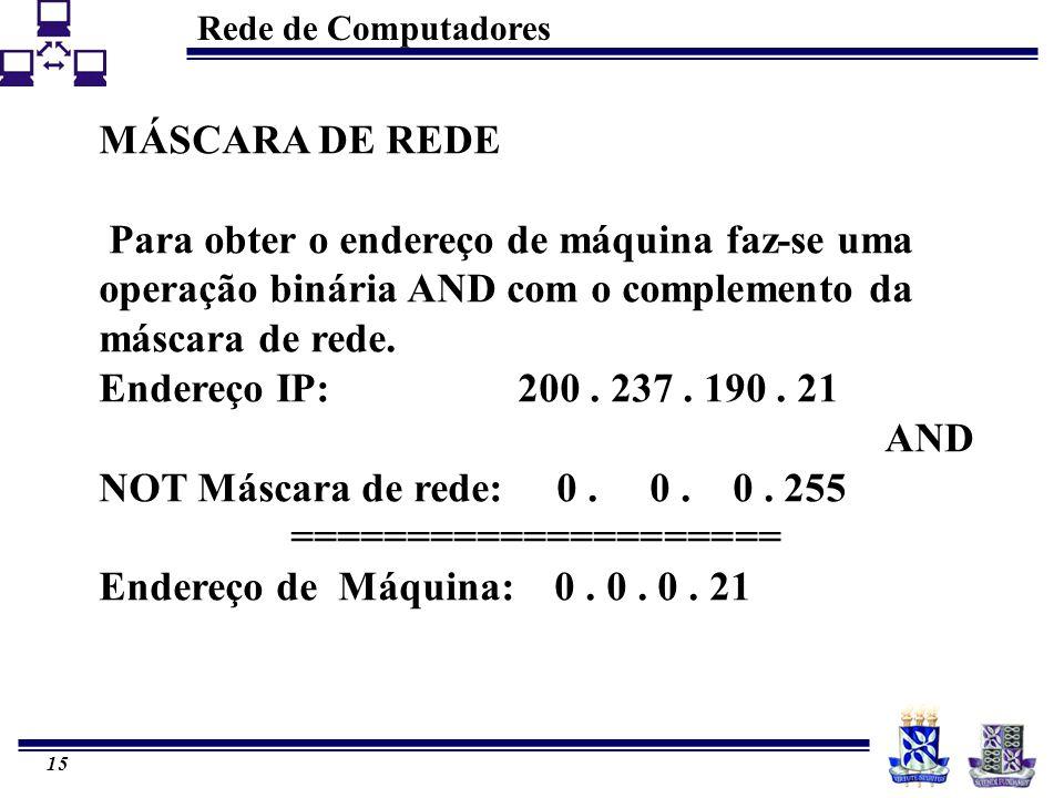 Rede de Computadores 15 MÁSCARA DE REDE Para obter o endereço de máquina faz-se uma operação binária AND com o complemento da máscara de rede. Endereç