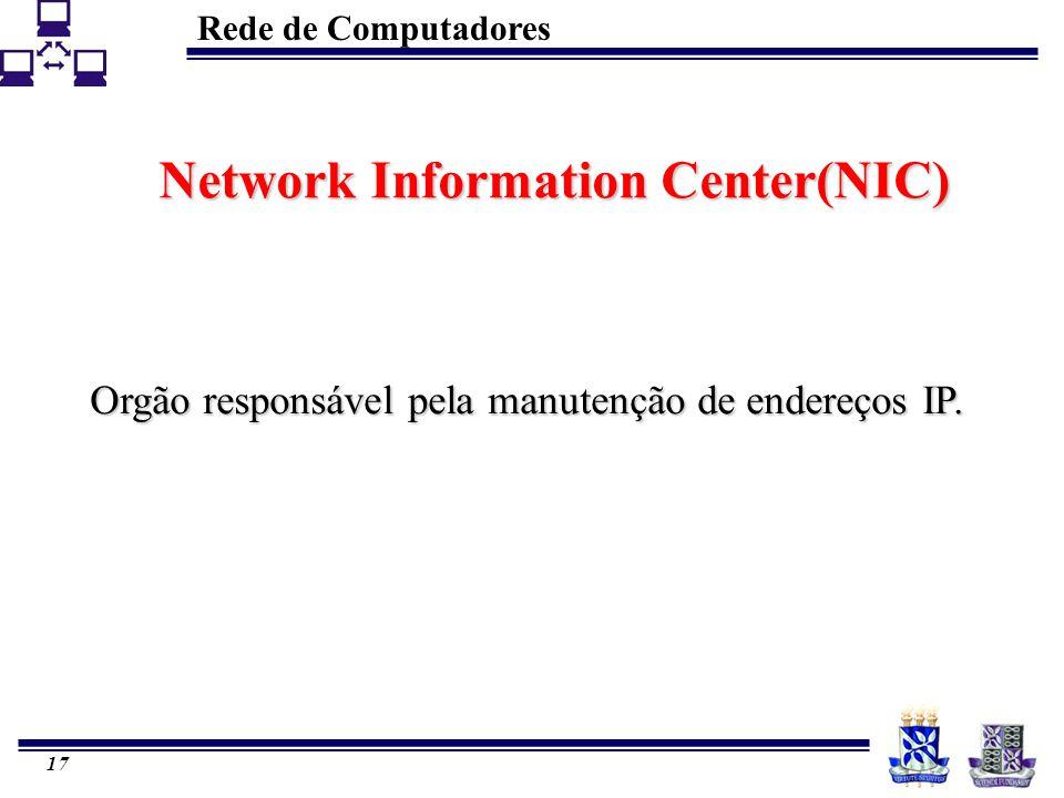 Rede de Computadores 17 Network Information Center(NIC) Orgão responsável pela manutenção de endereços IP.