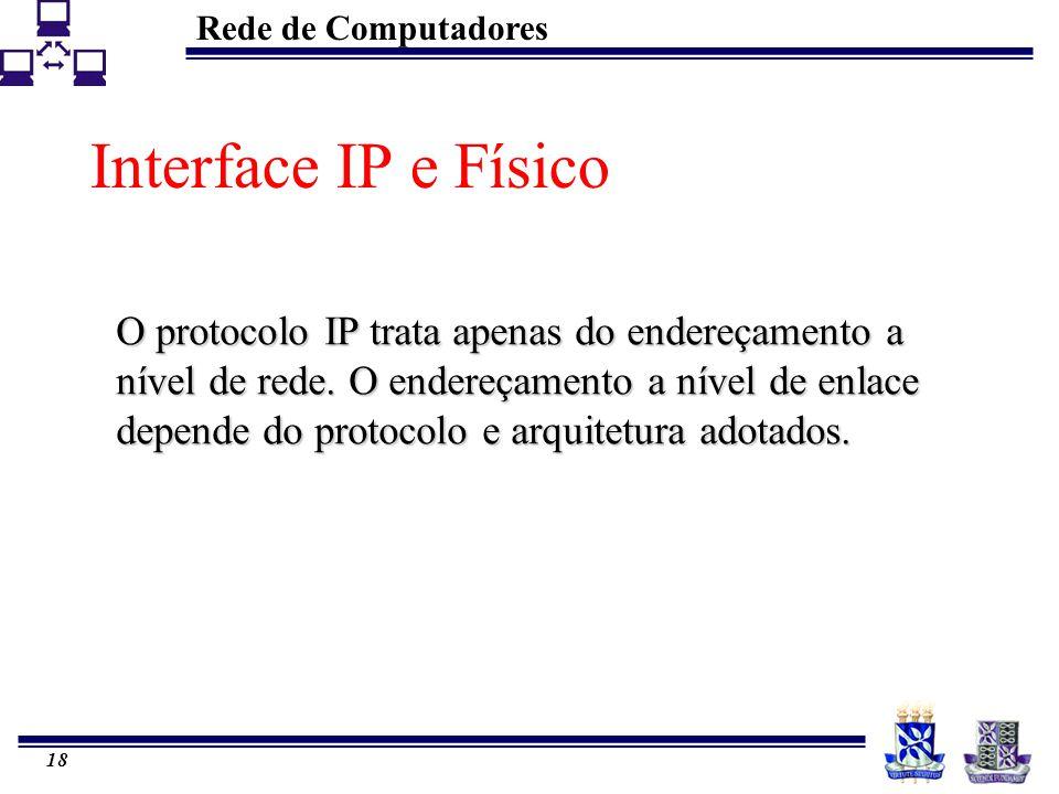 Rede de Computadores 18 Interface IP e Físico O protocolo IP trata apenas do endereçamento a nível de rede. O endereçamento a nível de enlace depende
