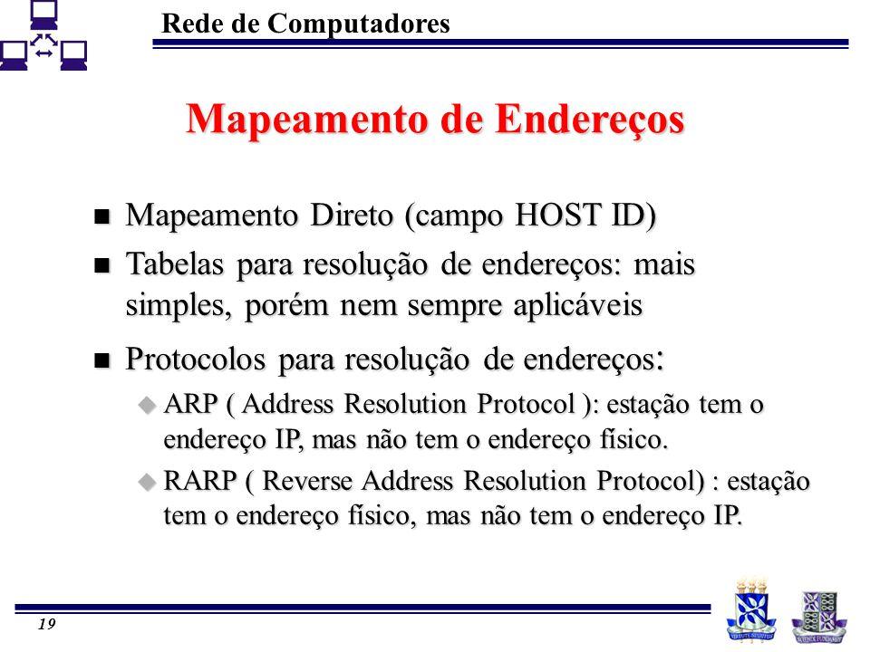 Rede de Computadores 19 Mapeamento de Endereços n Mapeamento Direto (campo HOST ID) n Tabelas para resolução de endereços: mais simples, porém nem sem